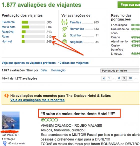 Foto do site do Booking mostrando como é uma avaliação de hotel em Orlando.
