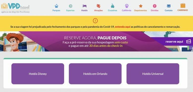 O VPD Travel é nosso site de venda de ingressos, hospedagem, cruzeiros e mais. Foto do site VPD Travel, mostrando as opções de hotéis - Disney, Universal e outros hotéis em Orlando.