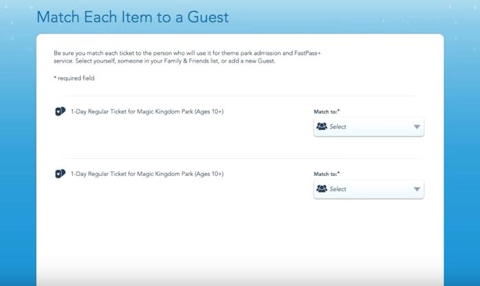 Atribuindo os ingressos no My Disney Experience. Foto da página do site da Disney mostrando como atribuir um ingresso a uma pessoa.