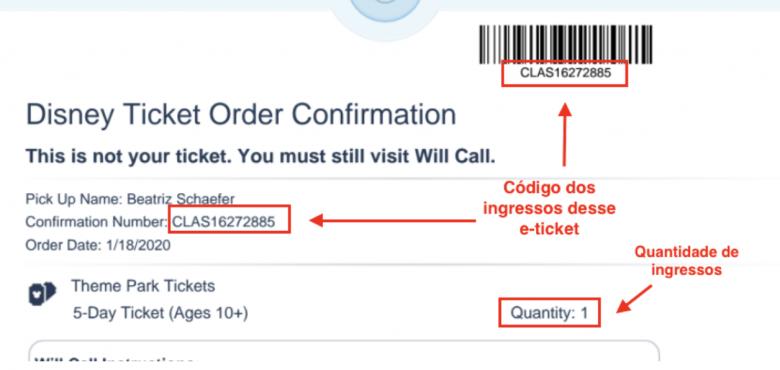 Foto de um ingresso da Disney em e-ticket indicando onde fica o código que deve ser inserido no site.