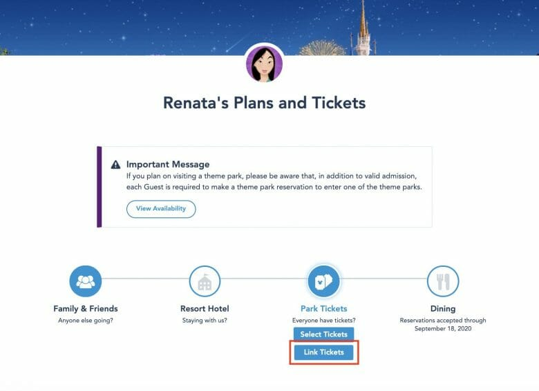 "Foto da página do site da Disney mostrando a seção ""Link Tickets"", que serve para vincular os ingressos à conta."