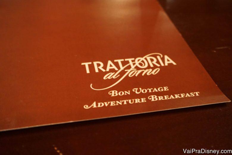 Foto do cardápio do café da manhã da Trattoria al Forno