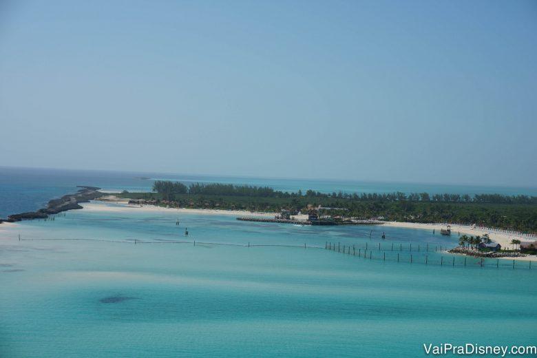 Foto da ilha da Disney, Castaway Cay, por onde o Disney Dream passa
