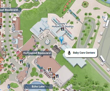 Mapa do Hollywood Studios indicando onde fica o Baby Care Center do parque.