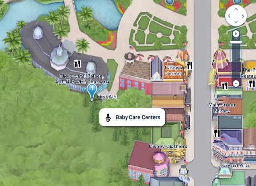 Mapa do Magic Kingdom indicando onde fica o Baby Care Center do parque.