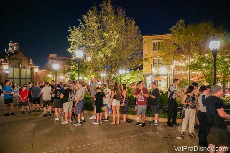 Foto de uma fila em um parque da Disney, durante a noite, com os visitantes bem próximos um do outro.