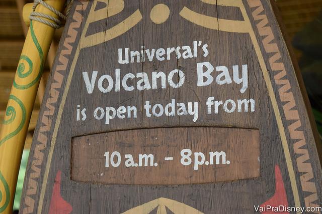 Horário de funcionamento do Volcano Bay