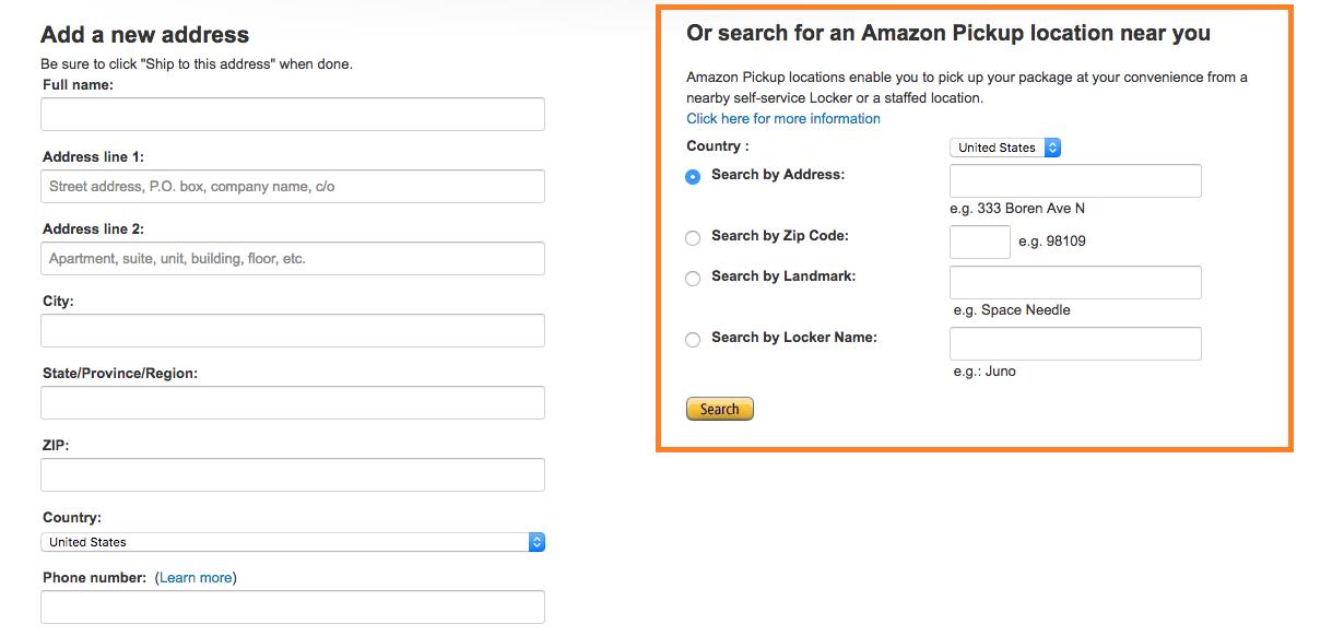 Fazendo suas compras online. Foto da tela no site da Amazon indicando como escolher um Amazon Locker para retirar as compras