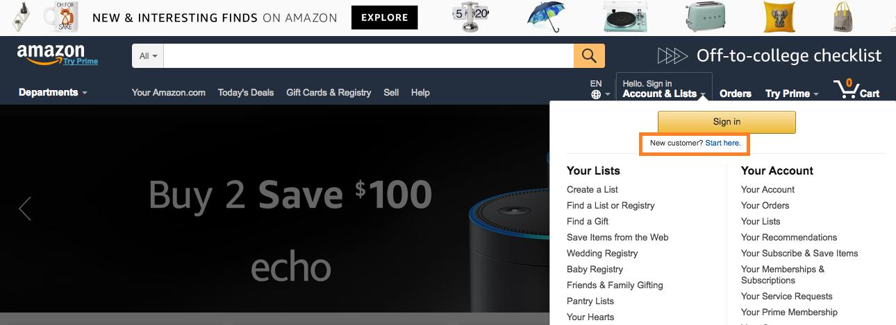 Fazendo suas compras online pela Amazon. Foto da tela do site da Amazon indicando onde ir para iniciar as compras