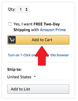 """Fazendo suas compras online pela Amazon. Foto da tela no site da Amazon indicando o botão """"Add to cart"""" (Adicionar ao carrinho)"""