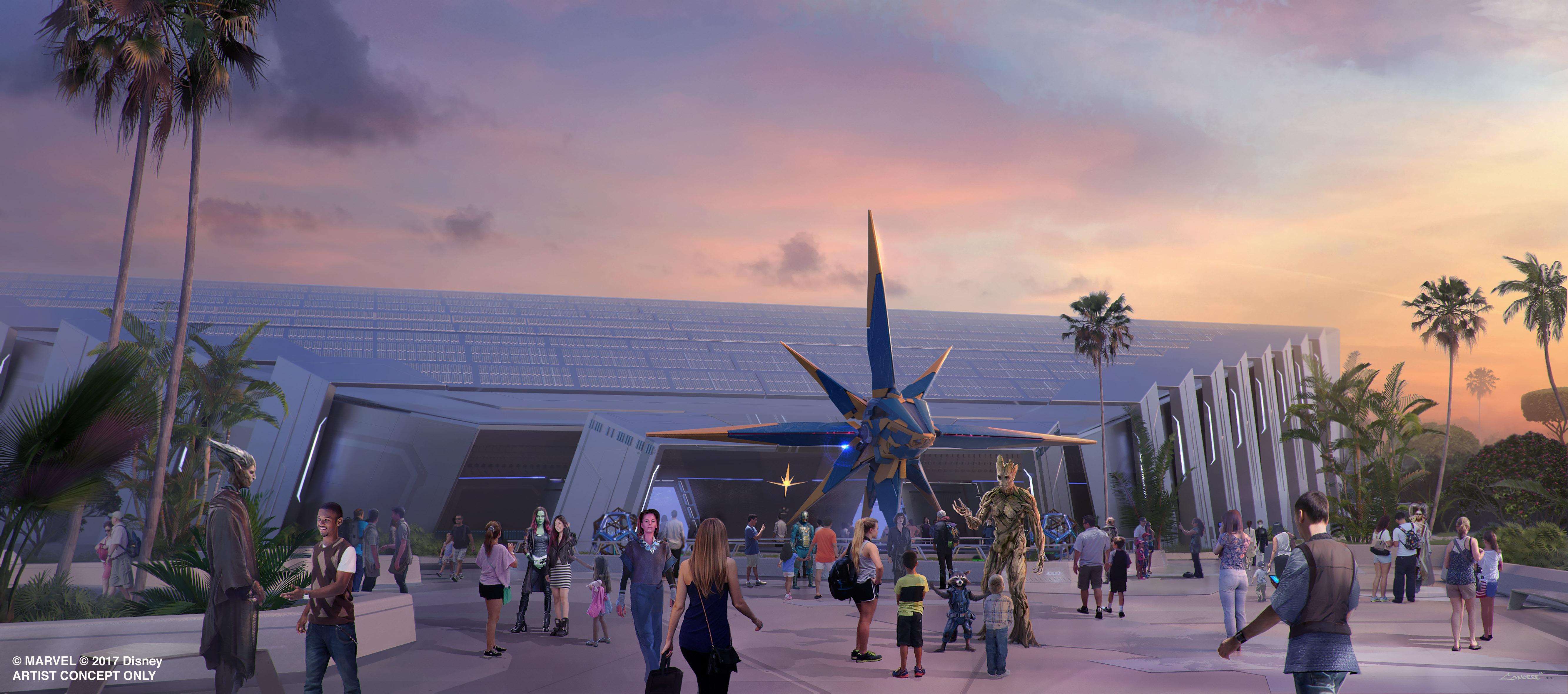 Perspectiva artística de como será a fachada da nova atração de Guardiões da Galáxia no Epcot