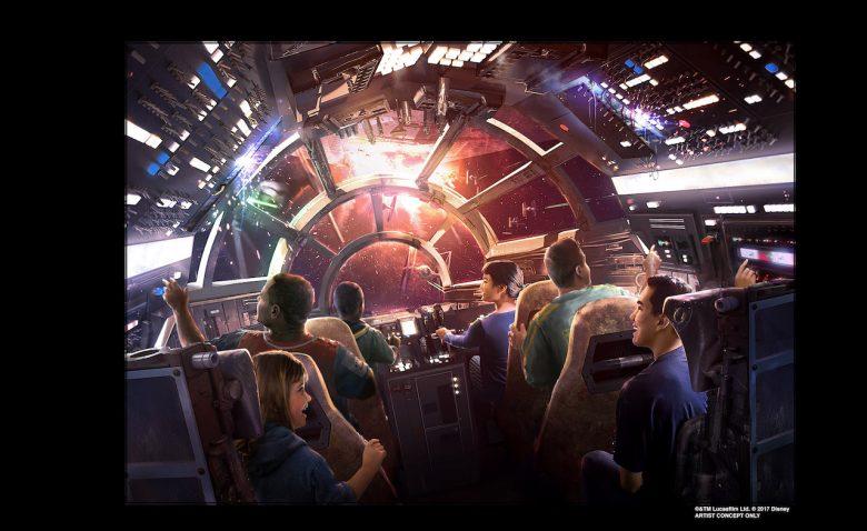 Conceito de como será a atração de Galaxy's Edge, com visitantes pilotando uma nave