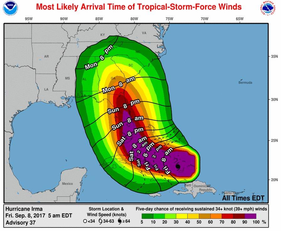 Caminho e intensidade previstos para o Irma, imagem do National Hurricane Center