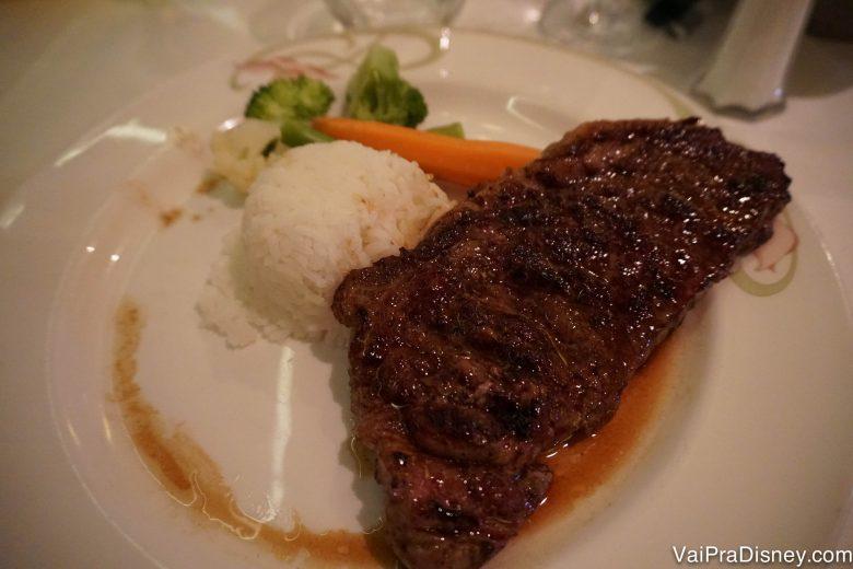 Foto do prato a bordo do cruzeiro, de carne com arroz e vegetais