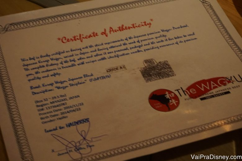 O certificado de autenticidade da carne (kobe beef)