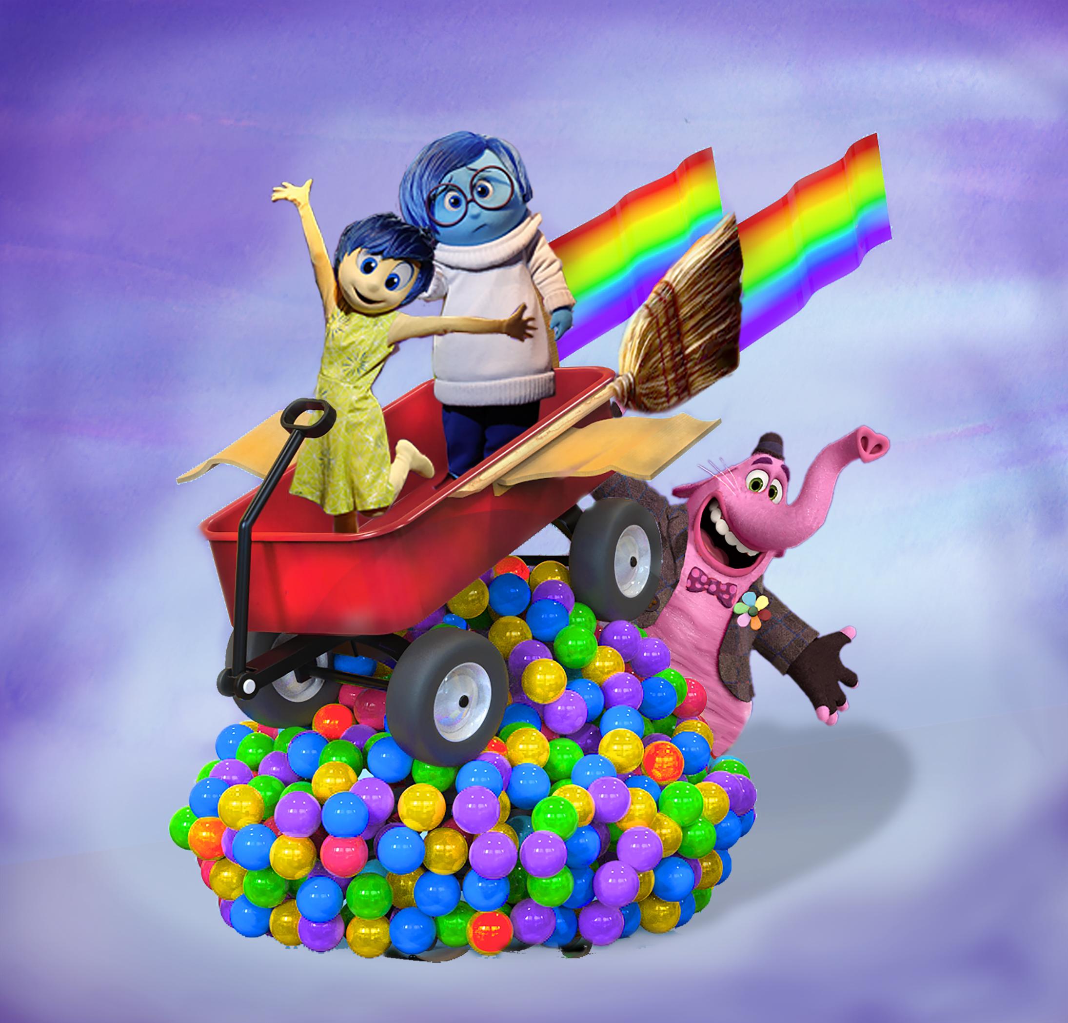 Personagens de Divertidamente fazem sua estreia da Pixar Play Parade.