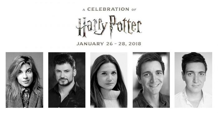Foto dos atores que participaram do A Celebration of Harry Potter em 2018, Stanislav Yanevski, James e Oliver Phelps, Bonnie Wright e Natalia Tena