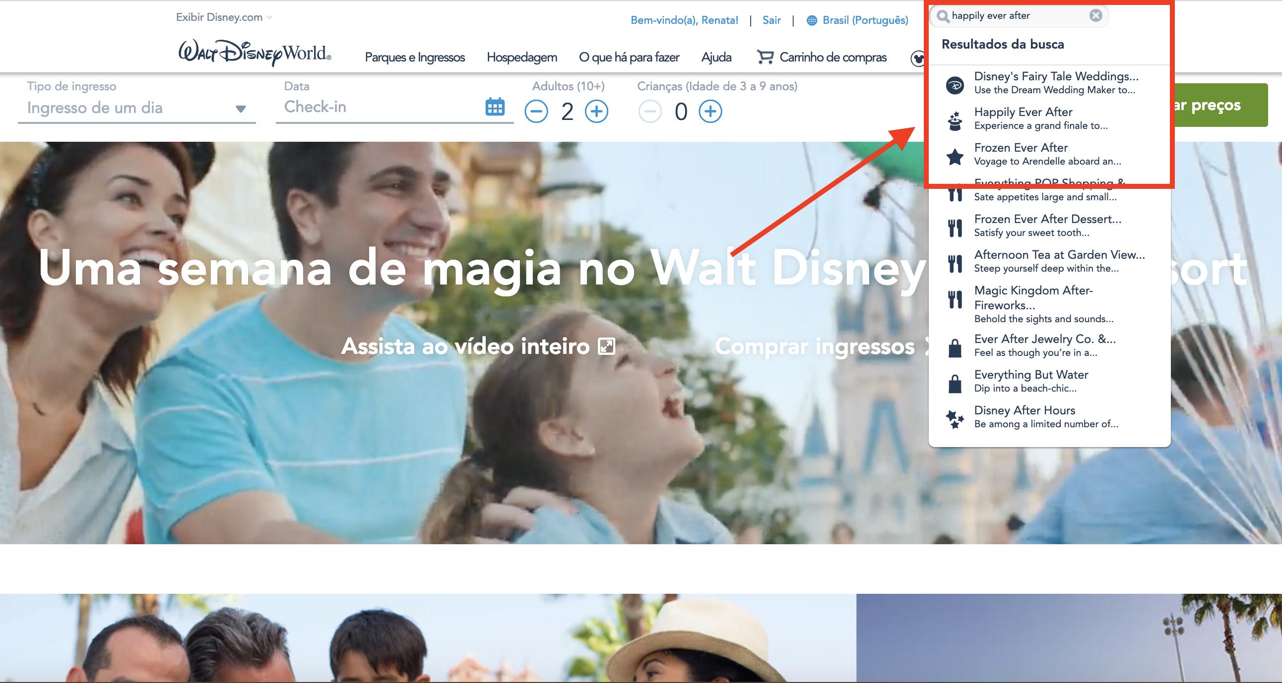 Como verificar horários de atrações dos parques no site da Disney