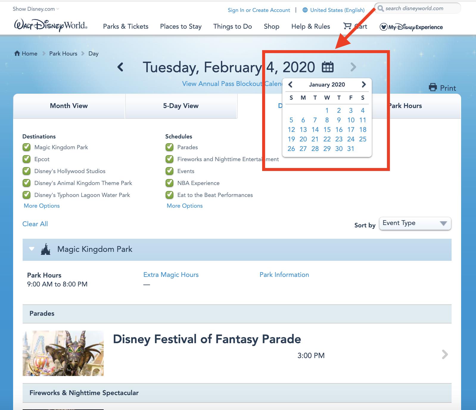 Como verificara programação completa de um parque da Disney