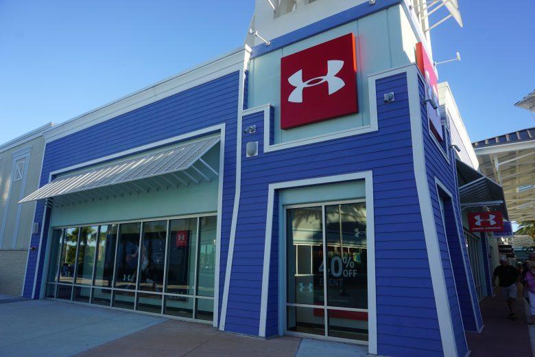 Foto da fachada da loja Under Armour no Premium Outlet de Tampa