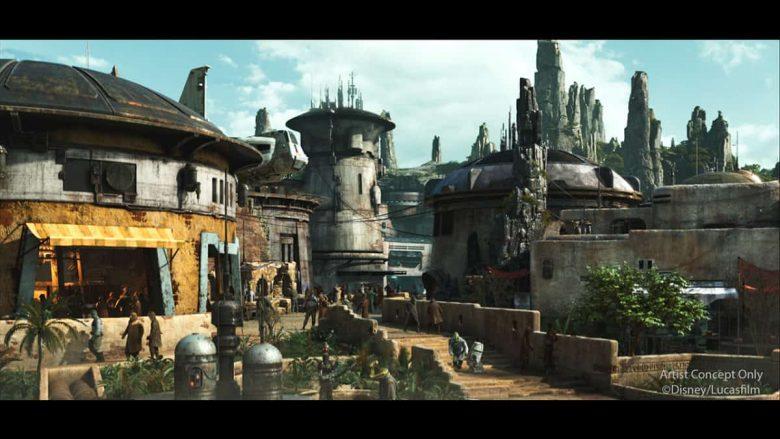 Tudo indica que vai ser a área mais tematizada e imersiva da Disney toda. A foto mostra como serão as construções na nova área Galaxy's Edge na Califórnia