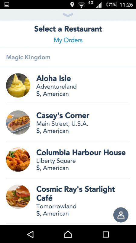Escolha entre os restaurantes listados.