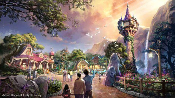 Conceito da Torre da Rapunzel na área de Enrolados da expansão do Tokyo DisneySea
