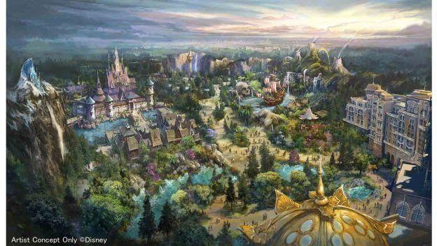 Conceito de como ficará a expansão do Tokyo DisneySea, um dos parques da Disney do Japão