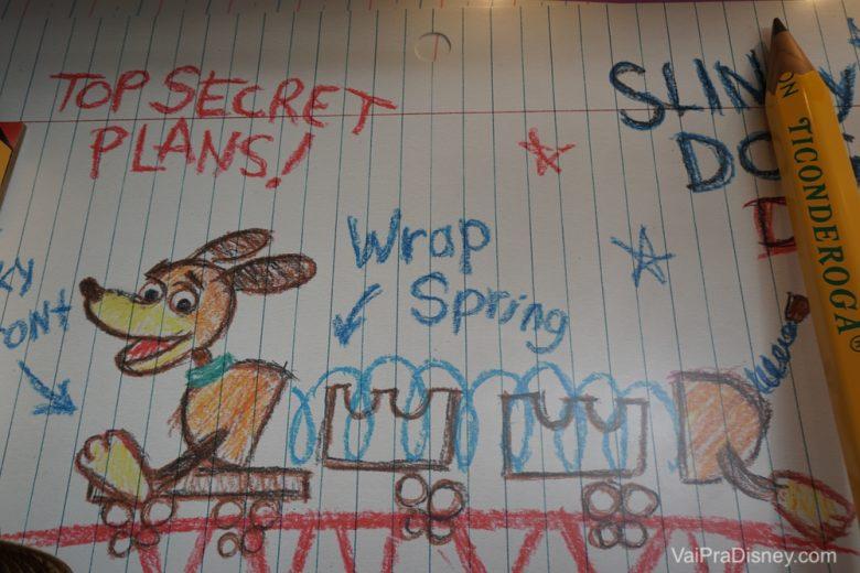Desenho fofo na fila do Slinky Dog Dash.