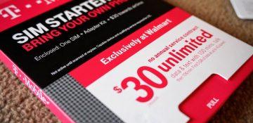 Foto de uma embalagem de chip de celular americano da marca T-Mobile