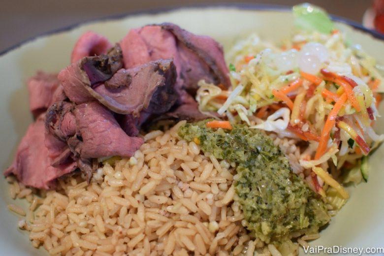 Foto da comida da Satu'li Canteen do Animal Kingdom, com carne, arroz e legumes