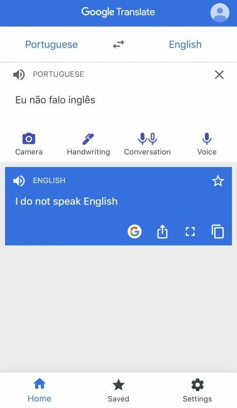 O Google Translate é um ótimo aliado de quem não fala inglês! Imagem de uma frase em português e traduzida para o inglês no aplicativo Google Tradutor