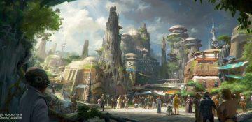 Todo mundo vai querer ver isso ao vivo. A foto mostra como serão as construções na nova área Galaxy's Edge