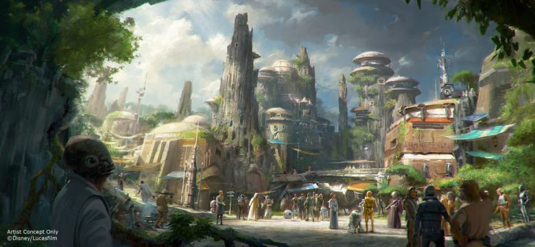 Foto de divulgação da Disney. Não tem o que falar: a área de Star Wars vai ser incrível! A foto mostra como serão as construções na nova área Galaxy's Edge