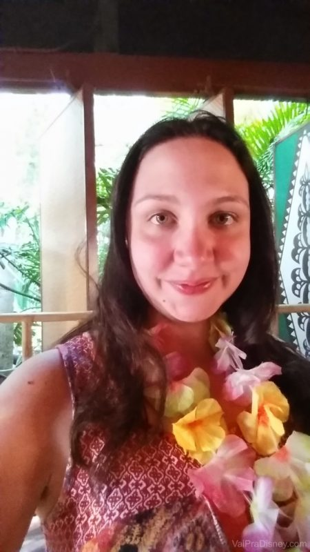 Selfie que eu mandei pro Fe registrando meus micos no Spirit of Aloha Dinner Show!