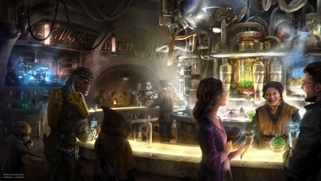 Aqui no blog a gente sempre conta todas as novidades sobre o lançamento da área de Star Wars. Foto de divulgação da Disney de como será o bar de Galaxy's Edge
