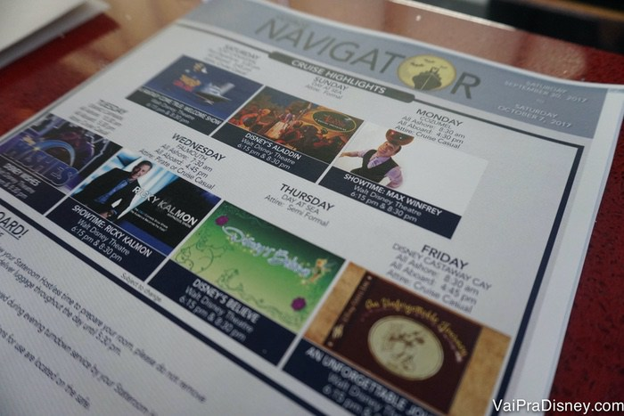 Sempre olhe as informações do Personal Navigator para saber de tudo que está acontecendo no navio.