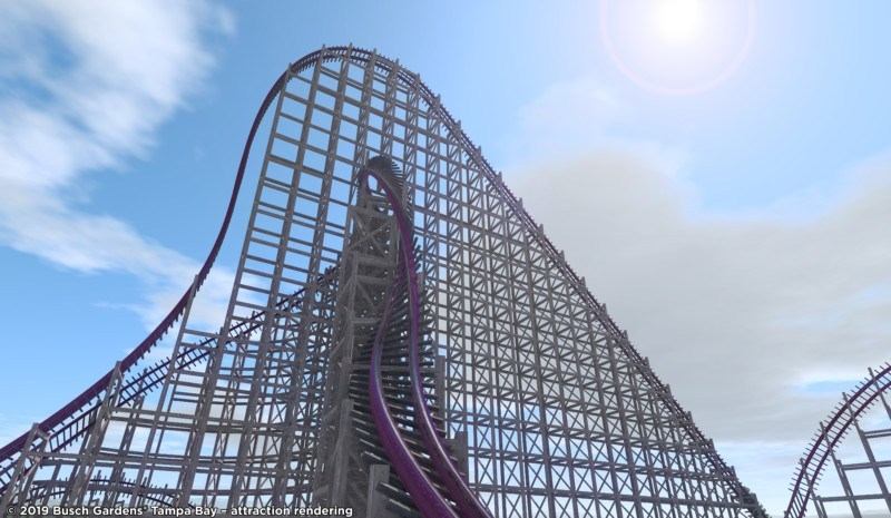 Novas atrações de Orlando incluem a nova montanha russa híbrida do Busch Gardens. A imagem mostra um dos picos da montanha-russa, com trilhos que descem retorcidos.