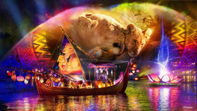 Foto de divulgação do show noturno do Animal Kingdom, o Rivers of Light. A imagem mostra um barco iluminado no lago e projeções no céu, mostrando uma cena do filme O Rei Leão.