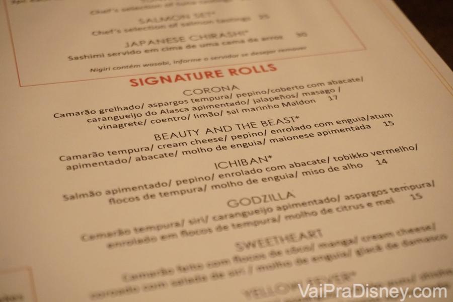 O cardápio de Signature Rolls do Seito
