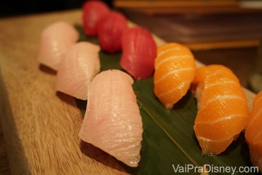 The Trilogy, 9 peças de niguiri ou sushi (3 de salmão, 3 de atum e 3 de yellowtail)