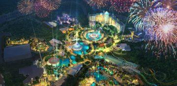 Concept art de como será o Epic Universe, o novo parque da Universal.