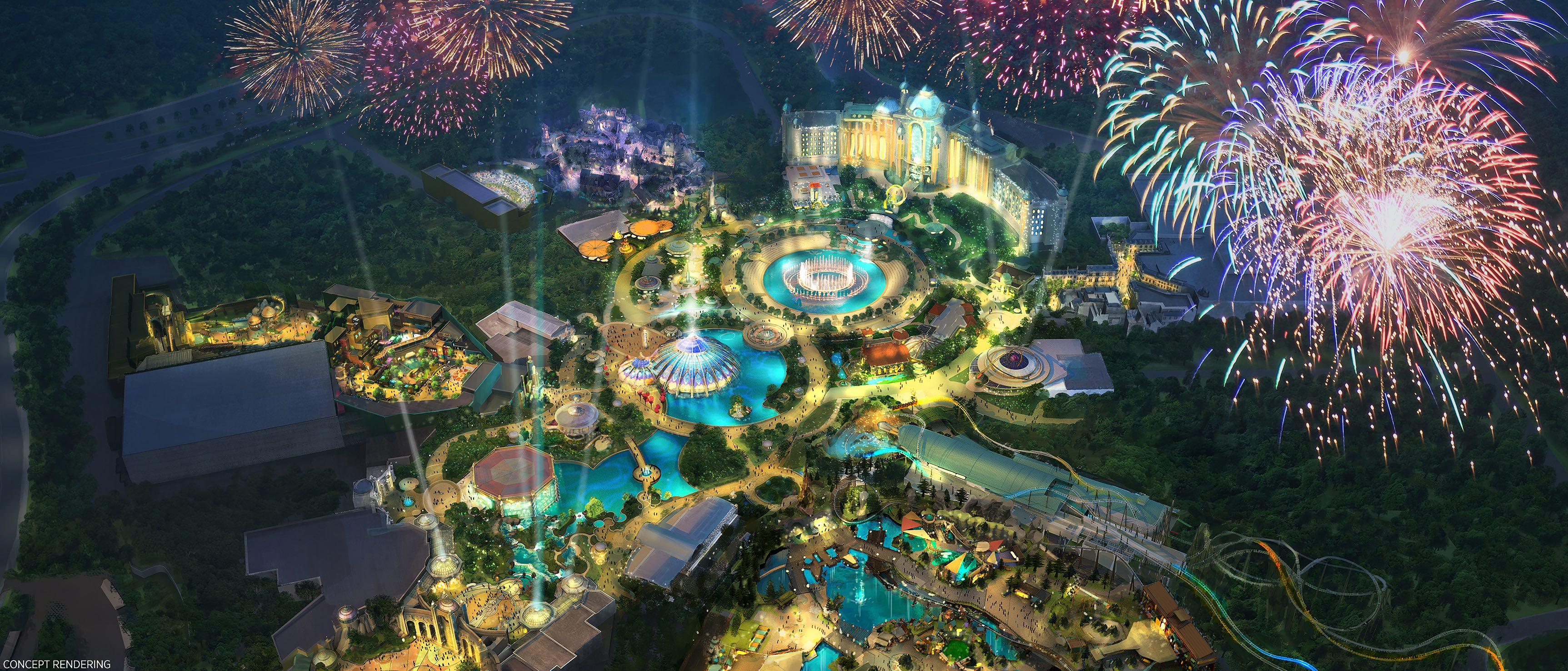 Concept art de como será o Epic Universe, o novo parque da Universal. A imagem é uma vista de cima de um parque de diversões iluminado à noite, com fogos de artifício no céu.