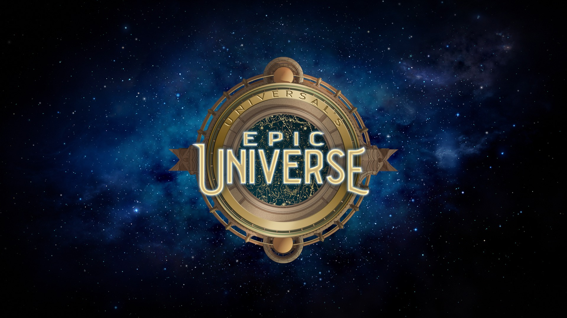 """Imagem do logo do novo parque da Universal, um círculo semelhante a uma bússola sobre um céu estrelado, com as palavras """"Epic Universe"""" no centro."""