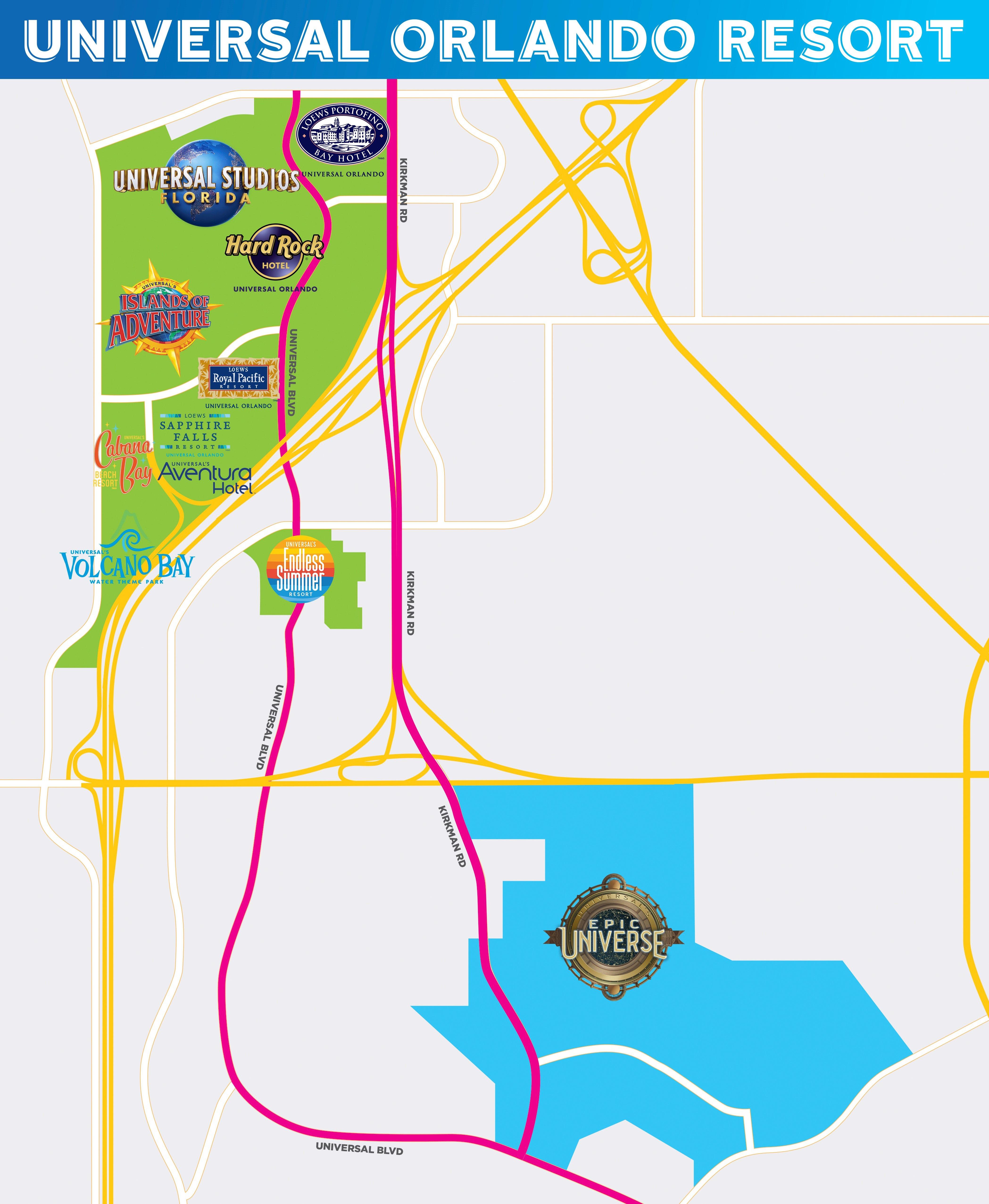Imagem do mapa do complexo Universal, mostrando os parques atuais e onde ficará o novo parque.