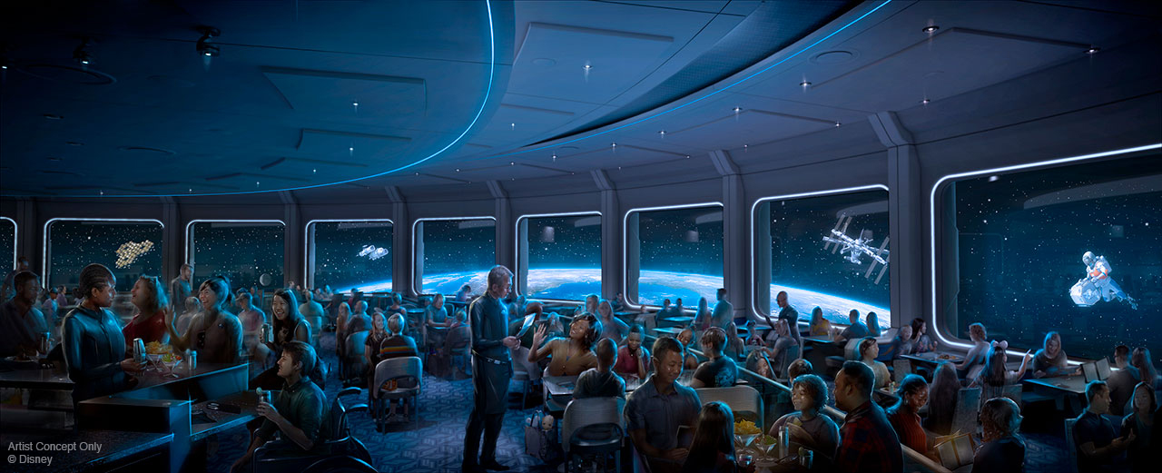 Protótipo do novo restaurante com tema espacial ao lado do Mission Space, em que os visitantes parecem estar dentro de uma nave, com janelas amplas e vista para o espaço.