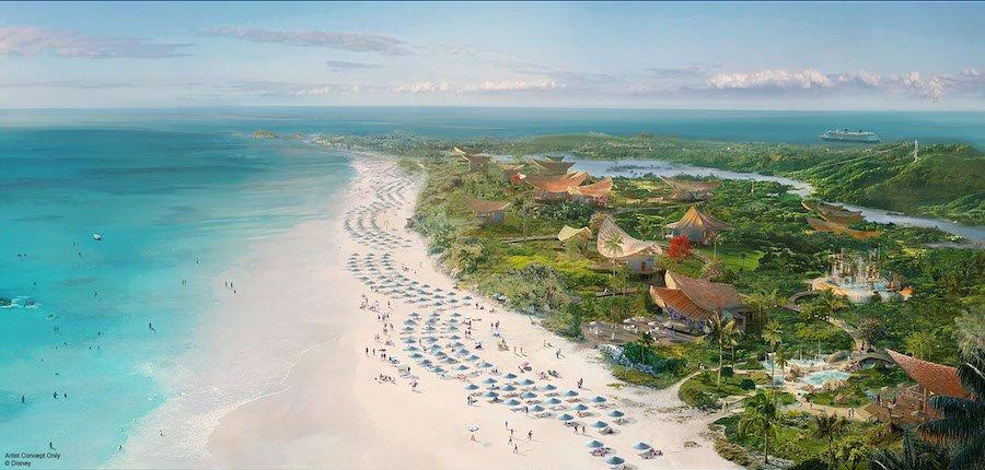 Conceito de como ficará a nova ilha da Disney nas Bahamas, a  Lighthouse Point