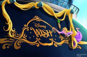 Conceito do novo navio da frota da Disney Cruise Line, com um desenho da Rapunzel escrevendo seu nome com um pincel em amarelo - Disney Wish
