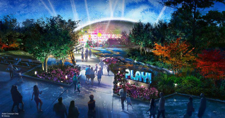 """Protótipo do Play Pavillion, que será uma cidade interativa. Na imagem há luzes, a palavra """"play"""" iluminada e um palco colorido."""