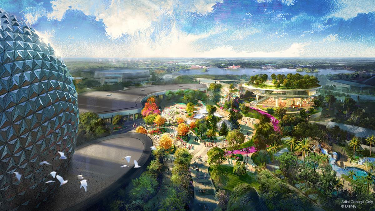 Imagem do Epcot visto de cima, com parte da bola visível, e árvores na área ao redor.